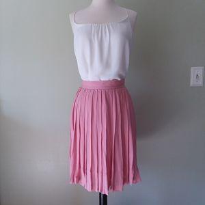 Pink silk pleated skirt
